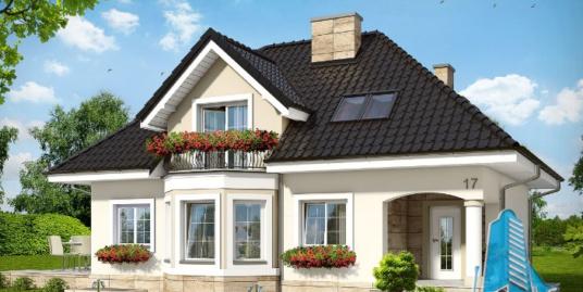 Проект жилого дома с цокольным этажом, мансардой, гаражом -100605