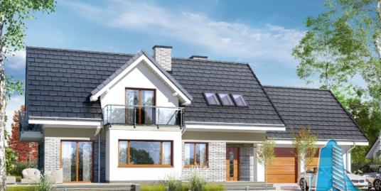 Проект жилого дома с партером, мансардой и гаражом для двух машин-100606