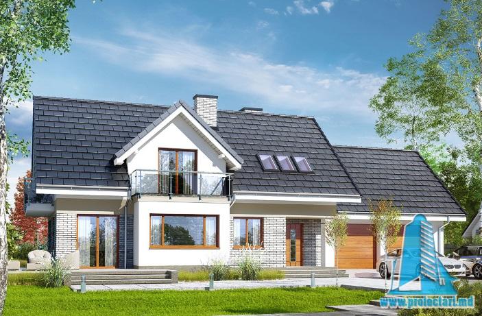 Proiect de casa cu parter, mansarda si garaj pentru doua automobile-100606