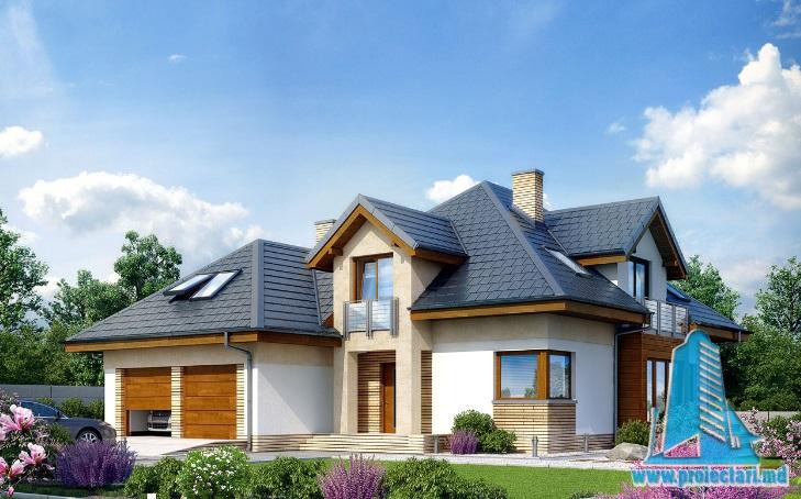 Proiect de casa cu parter, mansarda si garaj pentru doua automobile-100610