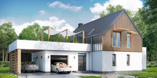 Проект жилого дома с партером, мансардой и гаражом для двух автомобиля-100607