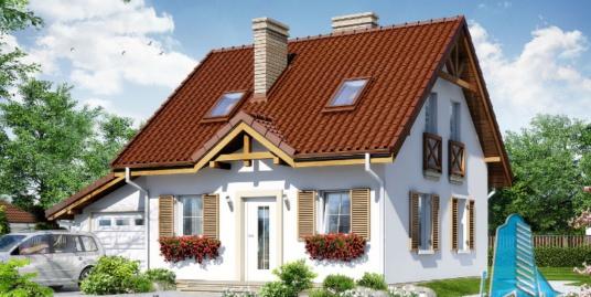 Proiect de casa cu parter, mansarda si garaj pentru un automobil-100614