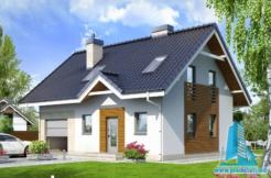 Proiect de casa cu parter, mansarda si garaj pentru un automobil 1