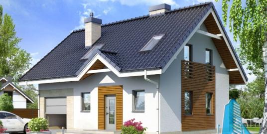 Proiect de casa cu parter, mansarda si garaj pentru un automobil-100615