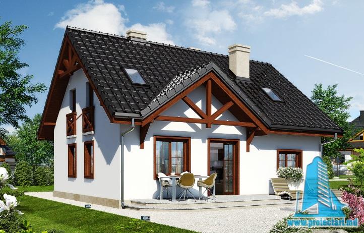 Proiect de casa cu parter, mansarda si garaj pentru un automobil-100616