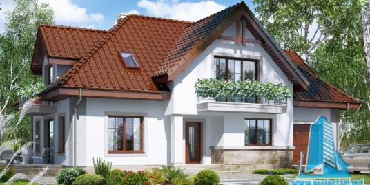 Проект жилого дома с партером, мансардой, гаражом для одного автомобиля и летней террасой-100526