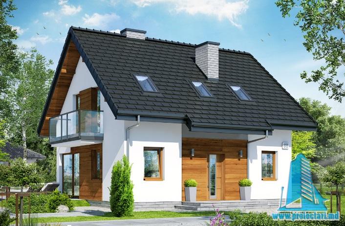 Proiect de casa cu parter, mansarda -100617