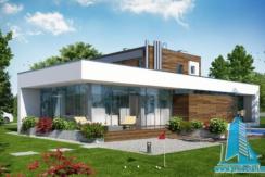 Проект двухэтажного жилого дома с гаражом для два автомобиля