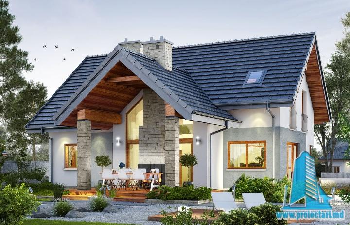 Проект жилого дома с партером, мансардой и гаражом для одного автомобиля-100619