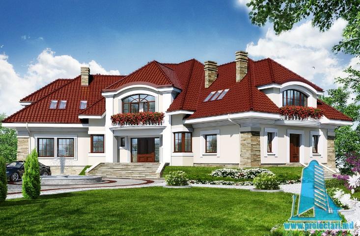 Proiect de casa/conac cu demisol, parter, mansarda(multifamiliala) -100620
