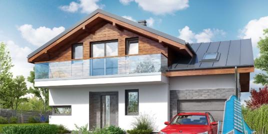 Proiect de casa cu parter, etaj si garaj pentru un automobil-100621