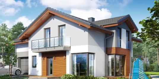 Proiect de casa cu parter, etaj si garaj pentru un automobil-100623
