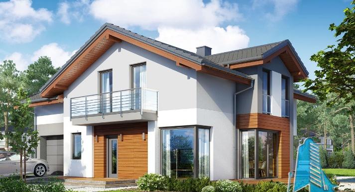 Proiect de casa cu parter, etaj si garaj pentru un automobil