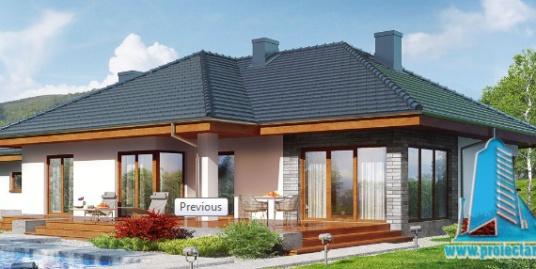 Проект жилого дома с партером, мансардой, гаражом для одного автомобиля и летней террасой-100527