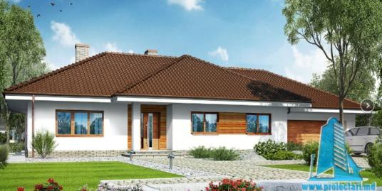 Проект жилого дома с партером, мансардой, гаражом для одного автомобиля и летней террасой