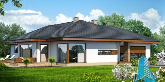 Проект жилого дома с партером, мансардой, гаражом для одного автомобиля-100529