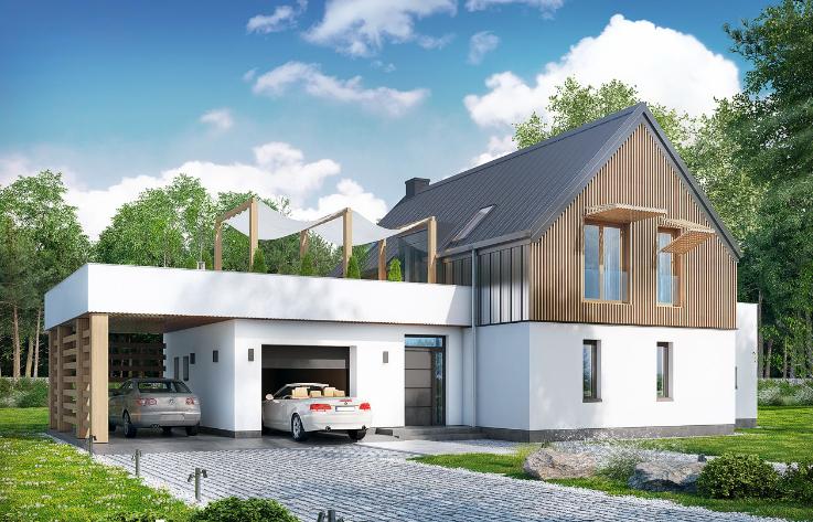 Proiect de casa cu parter, etaj si garaj pentru doua automobile-100607