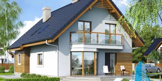 Проект жилого дома с партером, мансардой, гаражом для одного автомобиля и летней террасой-100520