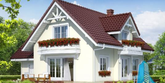 Проект жилого дома с  мансардой, гаражом для одного автомобиля – 100577