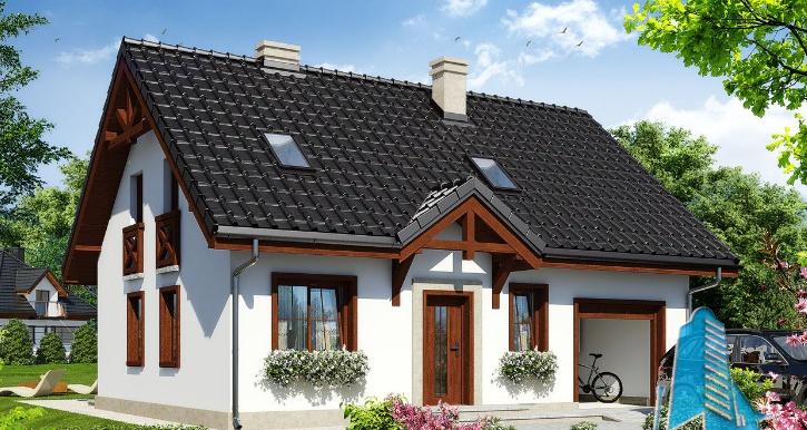 Проект жилого дома с партером, мансардой и гаражом для одного автомобиля
