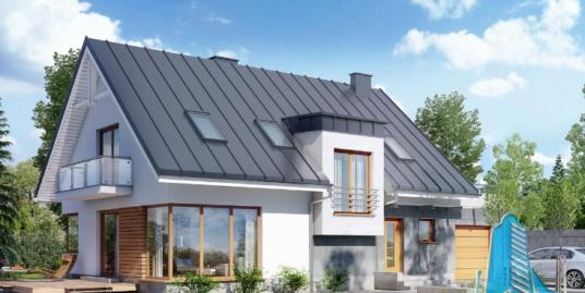 Проект жилого дома с партером, мансардой, гаражом для одного автомобиля и летней террасой -100542