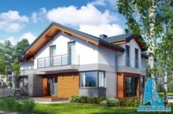 Проект двухэтажного жилого дома с гаражом для одного автомобил