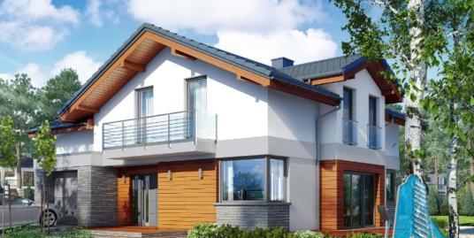 Proiect de casa cu parter, etaj si garaj pentru un automobil-100624