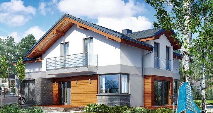 capture Проект двухэтажного жилого дома с гаражом для одного автомобил