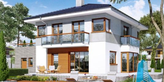 Проект двухэтажного жилого дома с  гаражом для одного автомобиля и летней террасой-100538