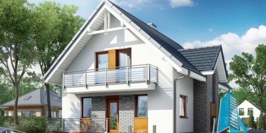 Проект жилого дома с цокольным этажом, мансардой, гаражом для одного автомобиля 100549