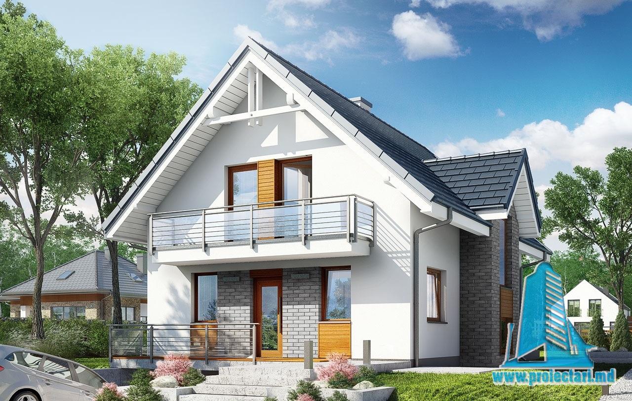 Proiect de casa cu demisol, parter, mansarda si garaj subteran 100549