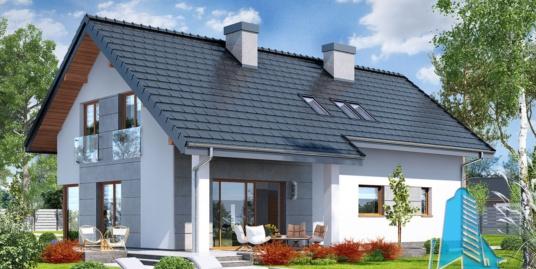 Проект жилого дома с подвалом, мансардой, гаражом для одного автомобиля и летней террасой-100546