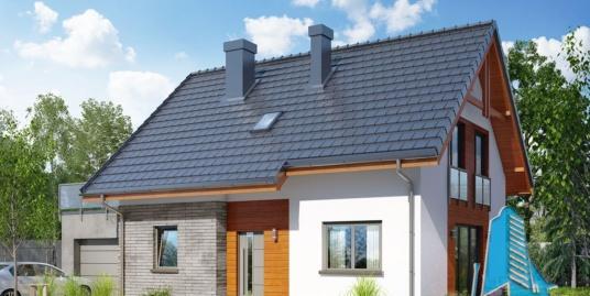 Проект жилого дома с мансардой, гаражом для одного автомобиля-100556