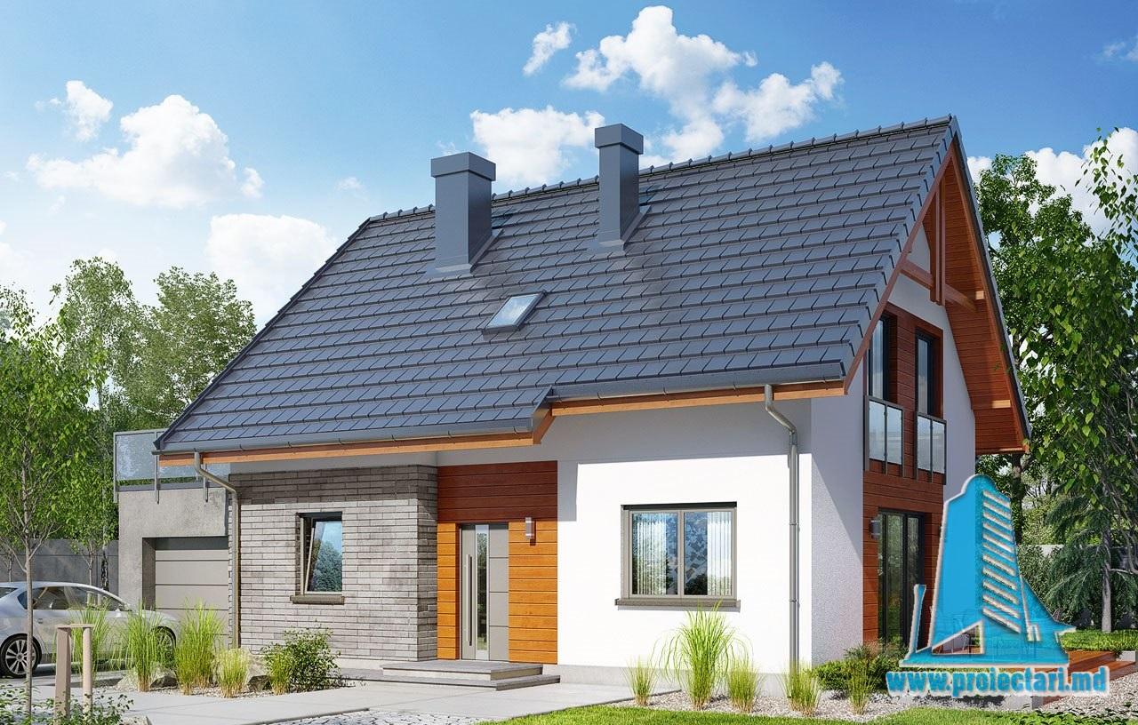 Proiect de casa cu parter mansarda si garaj-100556