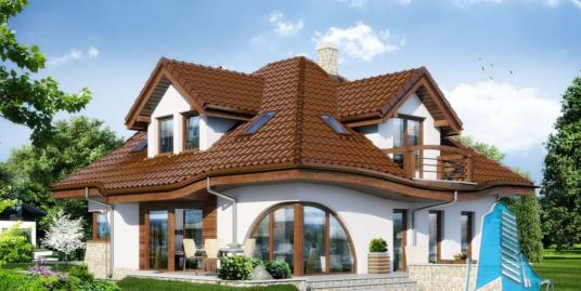 Проект жилого дома с  мансардой, гаражом для одного автомобиля-100551