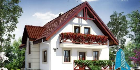 Проект жилого дома с подвалом, партером, мансардой и подземный гараж для одного автомобиля и летней террасой-100549