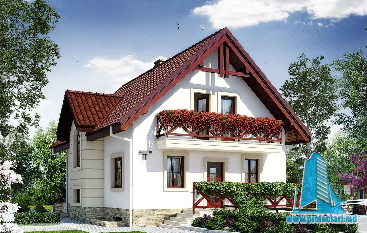 Proiect de casa cu demisol parter si mansarda si garaj for Youtube case cu mansarda
