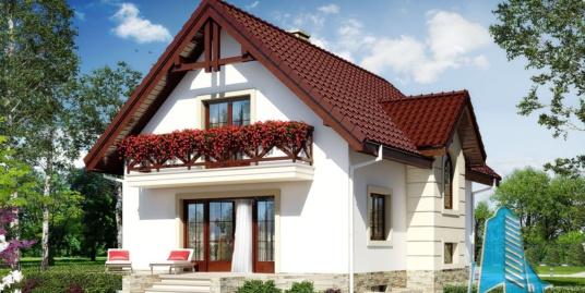Проект жилого дома с  мансардой – 100550
