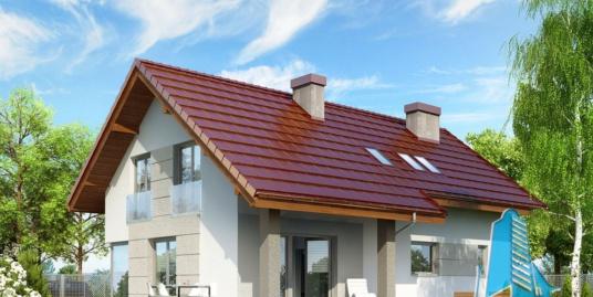 роект жилого дома с партером, мансардой, гаражом для одного автомобиля и летней террасой-100545