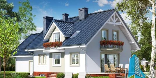 Проект жилого дома с цокольным этажом, мансардой, гаражом для два автомобиля – 100574