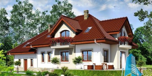 Проект жилого дома с партером, мансардой и гаражом для двух автомобиля-100564