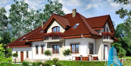 Проект жилого дома с  мансардой, гаражом для два автомобиля – 100570
