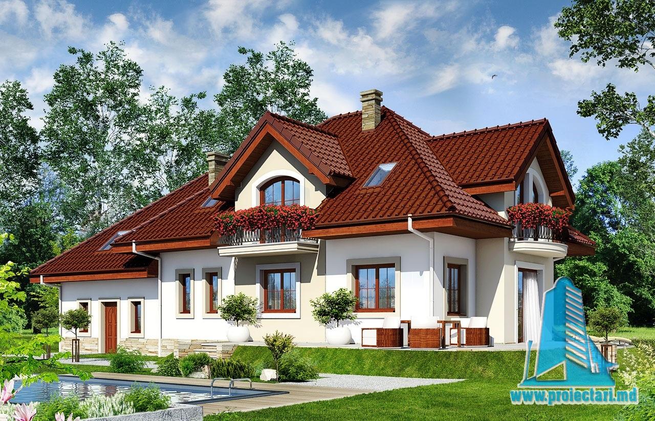 Proiect de casa cu mansarda si garaj pentru doua automobile – 100570