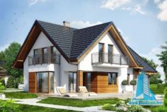 Proiect de casa cu mansarda si garaj