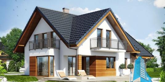 Проект жилого дома с  мансардой, гаражом для одного автомобиля – 100554