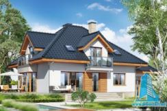 Proiect de casa cu demisol parter si mansarda cu garaj pentru o masina