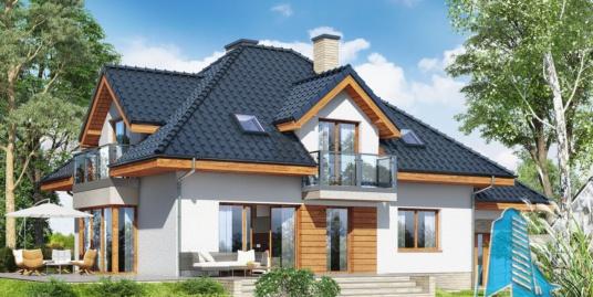 Проект жилого дома с партером, мансардой и гаражом для одного автомобиля- 100566
