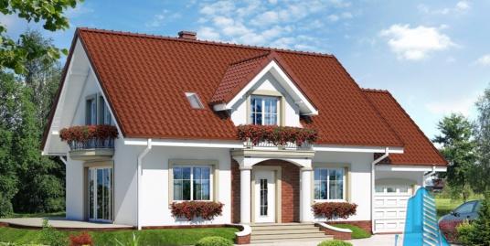 Проект жилого дома с партером, мансардой и гаражом для одного автомобиля-100565