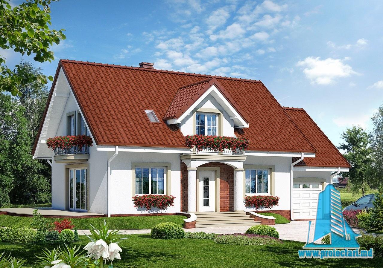 Casa de locuit cu parter, mansarda si garaj pentru un automobil-100565
