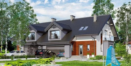 Проект жилого дома дуплекс с  партером, мансардой и гаражом для двух автомобиля-100560